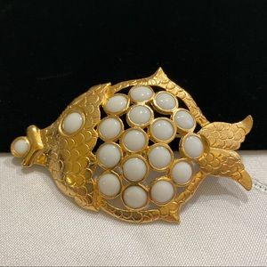 Vintage Etched Gold And Milk Glass Fish Brooch